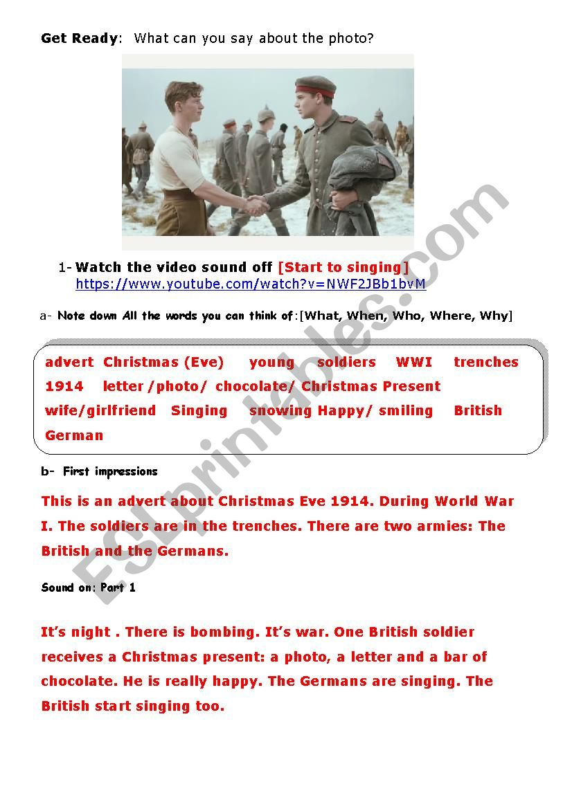Christmas Truce Advert  [1914 WWI]